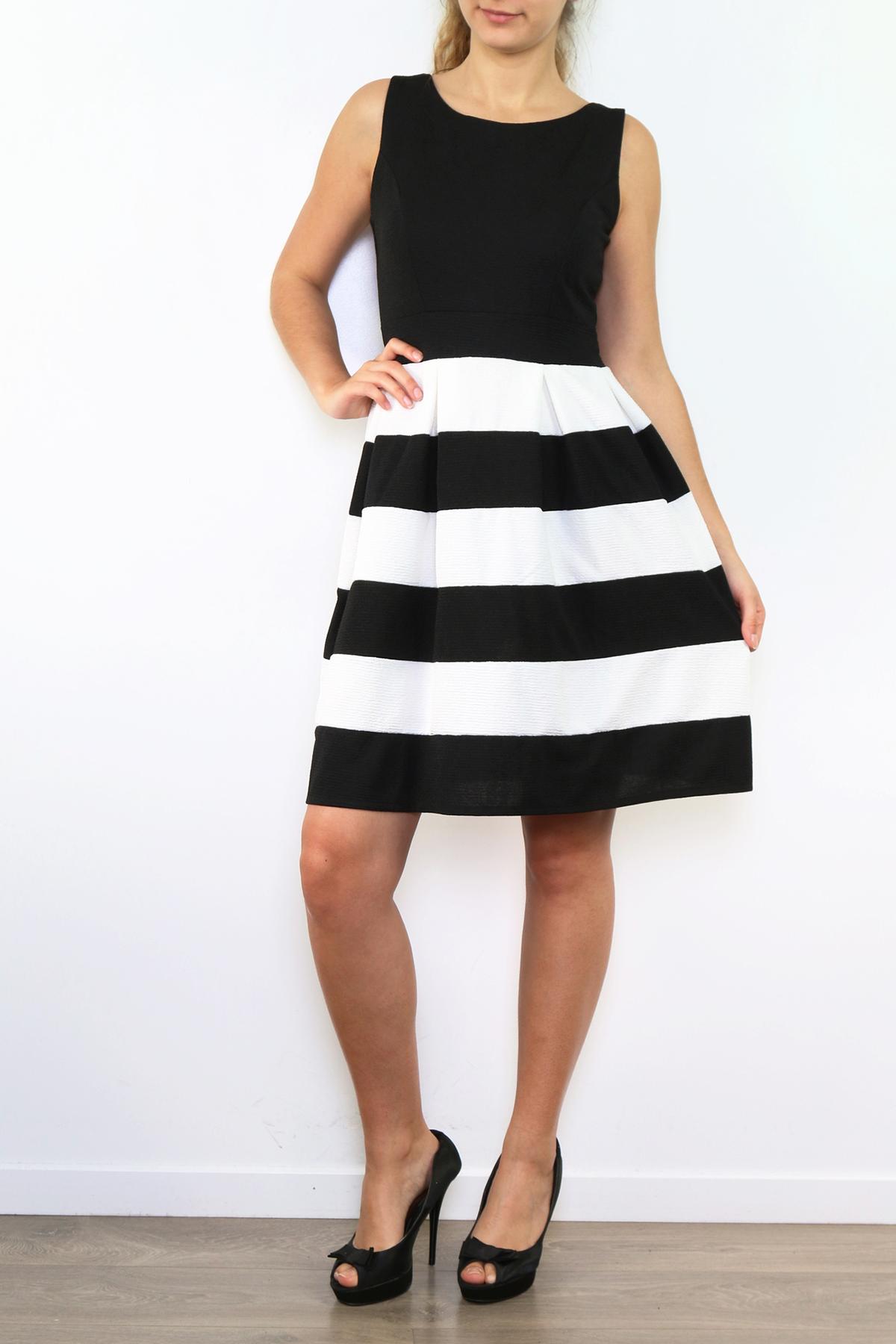 Musta-valkoraidallinen mekko 00005 etu