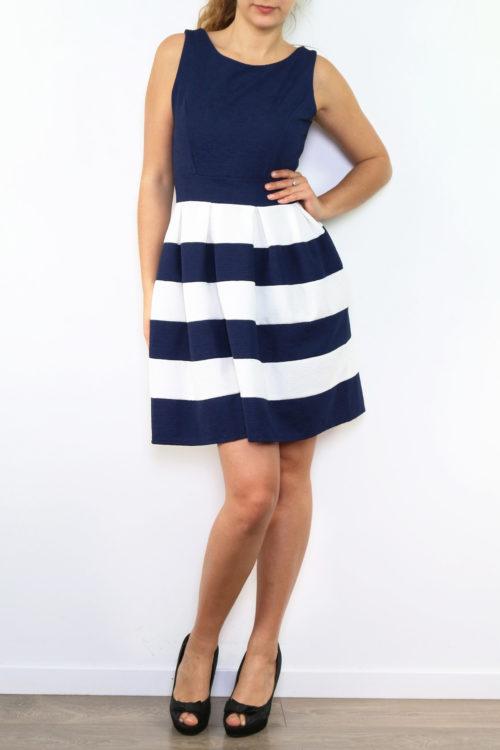 Sini-valkoraidallinen mekko 00004 etu