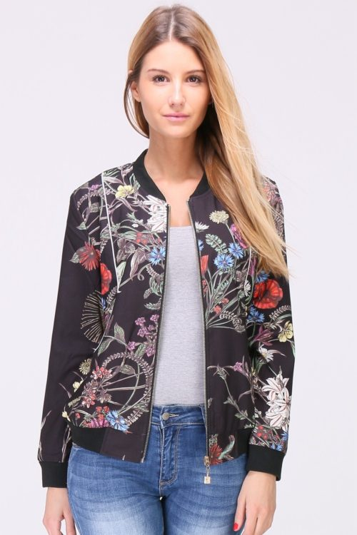 Kukkakuvioitu bomber-jakku 00024 etu