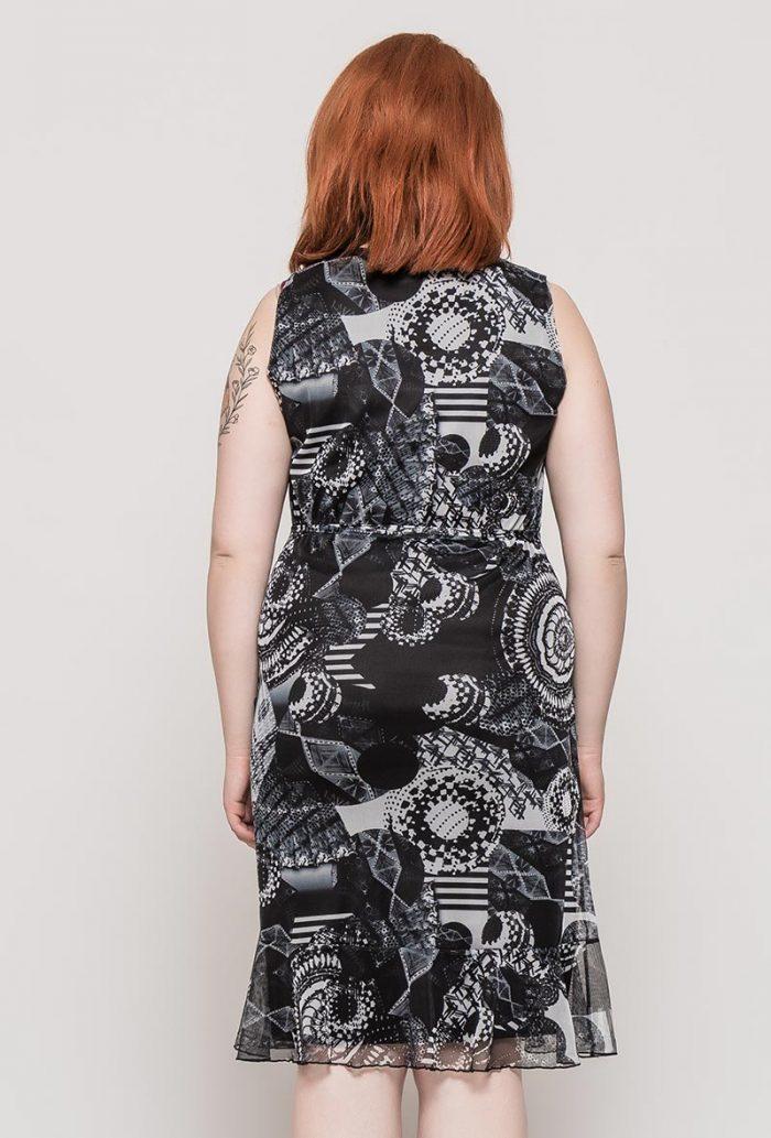 Mustavalkoinen kuviollinen mekko 00074 taka