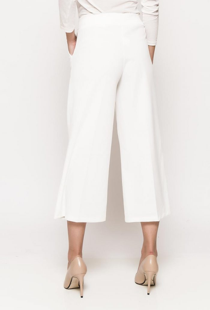 Valkoiset culotte-housut 00069 taka