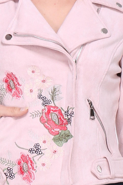 00140 Vaaleanpunainen kukkakirjailtu keinonahkatakki lähi