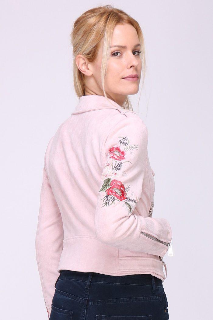 00140 Vaaleanpunainen kukkakirjailtu keinonahkatakki taka