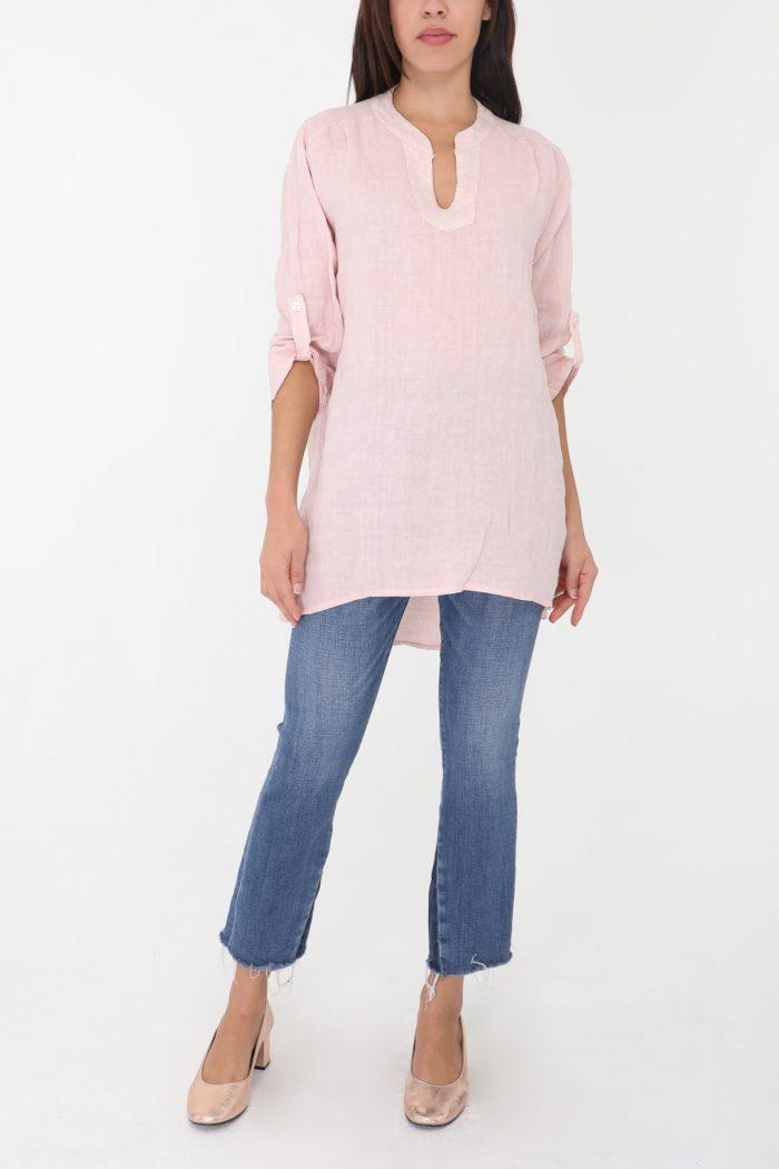 Vaaleanpunainen pellavatunika 00155