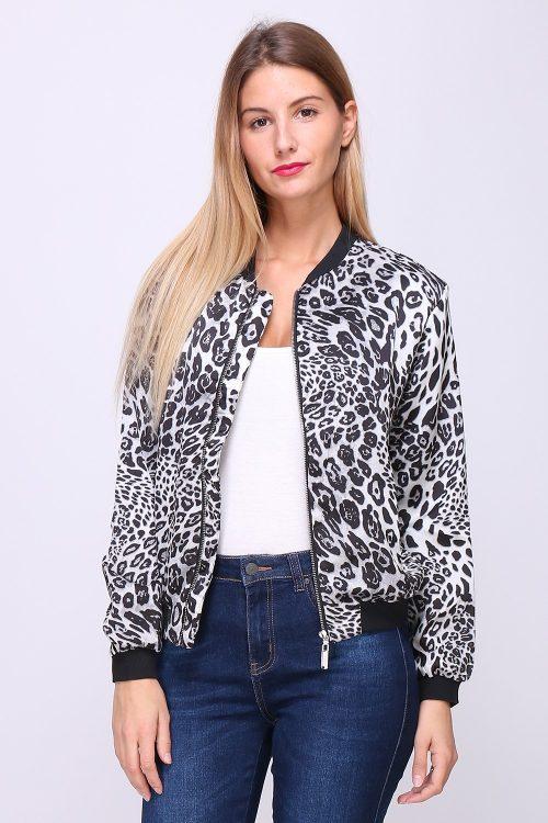 Leopardikuvioinen bomber-jakku