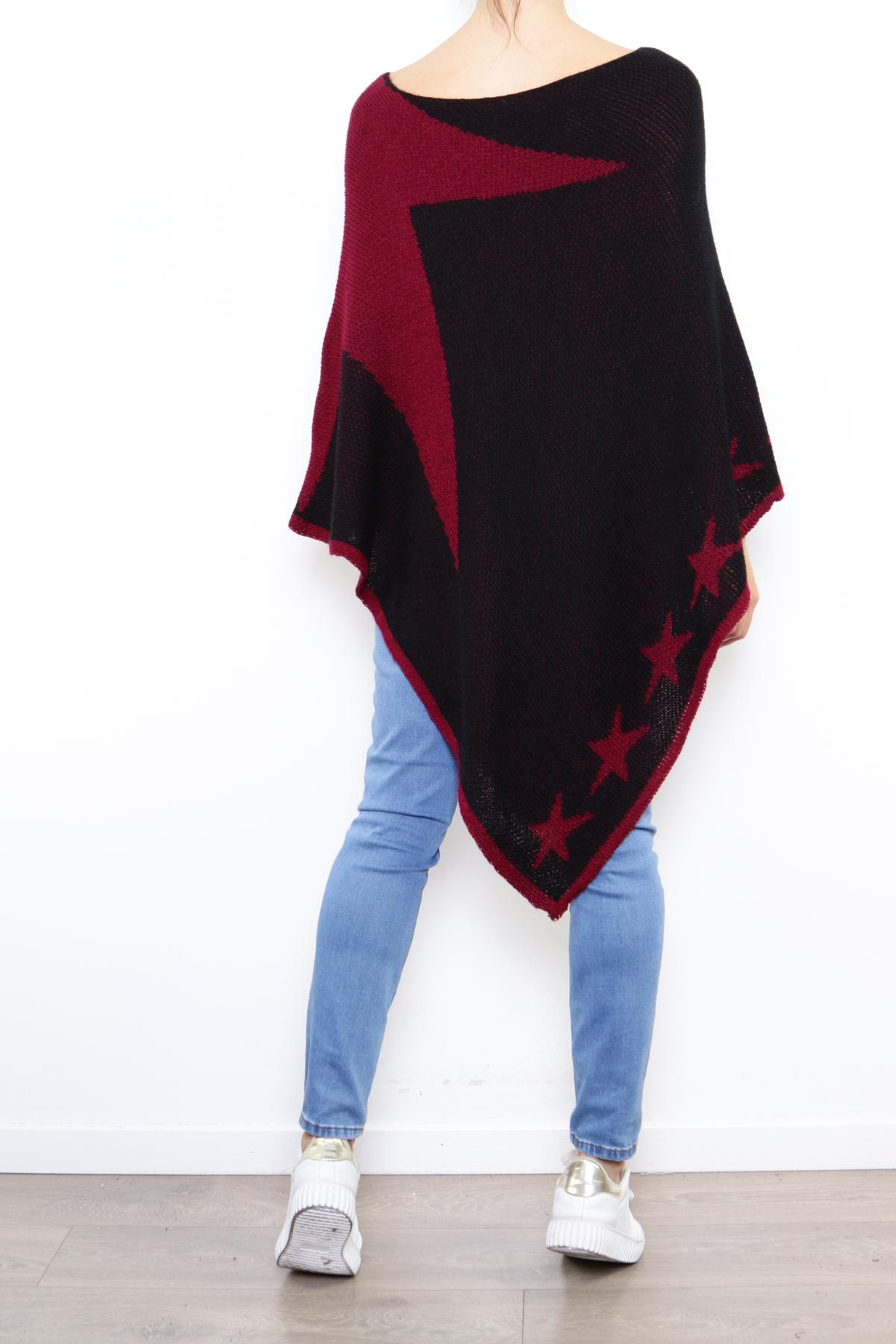 Iso musta-viininpunainen tähtiponcho